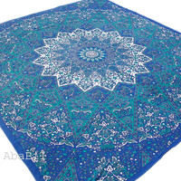 Queen Size Blue Multi Elephant Star Printed Indian Mandala Cotton Bedspread tapestry Hippie Bohemian Throw Bedcover Home Decorative Art
