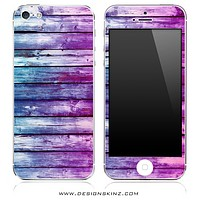 Blue & Pink Dyed Wood iPhone Skin