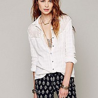 Free People  Embroidered Mesh Yoke Buttondown at Free People Clothing Boutique
