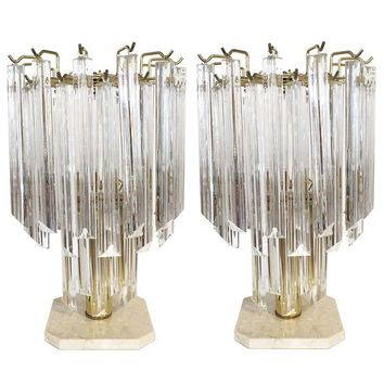 Pre-owned Vintage Murano Venini Brass Table Lamp - Pair