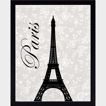 Paris Themed Wall Art Prints Black on Vintage Gray Background Art Print CUSTOMIZE YOUR COLORS 8x10 Prints Nursery Decor Baby Room Decor Kids