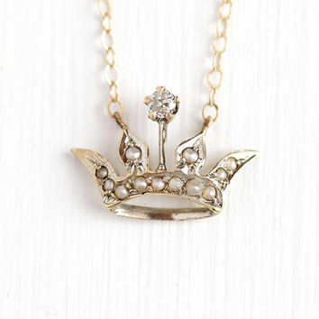 Royal 10k Yellow Gold Blue Sapphire and Diamond Tiara Charm Crown Pendant Necklace