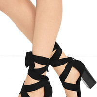 Dearest Black Suede Lace-Up Heels