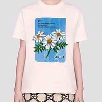 GUCCI 2020 new daisy letter printed round neck half-sleeved T-shirt