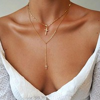 Layered CZ Cross Necklace