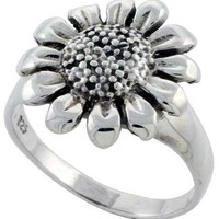 Sterling Silver Sunflower Ring Large 5/8 inch wide, sizes 6 - 10