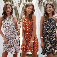 2020 new products women's casual all-match floral flower print dress