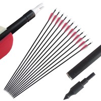 12pcs OD 8mm 30inch Spine 500 Fiberglass Arrows for Compound Recurve Bow  Archery Arrow Shooting Hunting Arrows