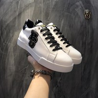 Dolce & Gabbana D & G Portofino Sneakers In Nappa Calfskin With Patches Cs15875268i705