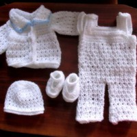 White baby boy crochet 4 pieces outfit