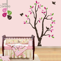 """Baby Nursery Wall Decals - White Tree Wall Decal - Tree Wall Decals - Large: approx 73"""" x 57"""" - K030"""