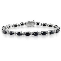 """Sterling Silver Black Sapphire and Diamond Bracelet, (.02 cttw, H-I Color, I3 Clarity), 7.25"""""""