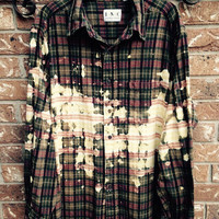 Super soft grunge bleached flannel unisex shirt XXLarge