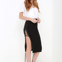 Come Together Black Suede Lace-Up Skirt