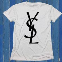 YSL Trending Women Men Casual Print Letter Short Sleeve Top T-Shirt I