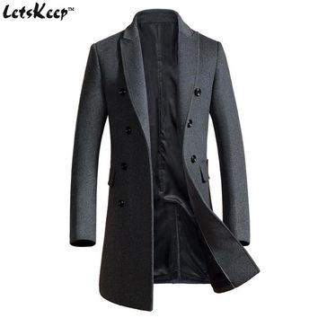 Letskeep 2017 New Winter woolen long peacoat men slim fit Double breasted overcoat mens warm business trench coat for men, MA324