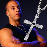 17KM The Fast and Furious Crystal Cross Men Necklaces & Pendants Silver Color Maxi Steampunk collares Vintage Statement Necklace