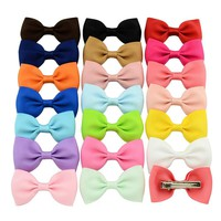 20pcs/lot Colorful Barrettes for Children Baby Girls Ribbon Hair Clip Bows Girls Hairpins Hair Accessories Hairgrip