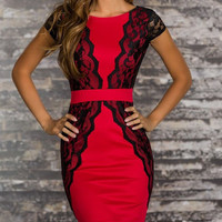 Red Floral Lace Top Bodycon Dress