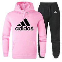 ADIDAS 2019 new simple solid color men and women sports suit two-piece Pink