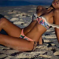Trend hot sell hand crocheted lace print a one-word shoulder swimsuit sexy two-piece bikini