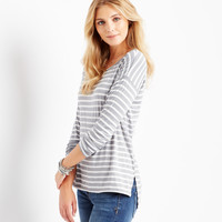 Aeropostale Womens Junie and Jade Long Sleeve Boxy Stripe T-Shirt