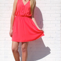 Afternoon In The Sun Dress-Coral