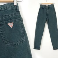 Size 2 Slim High Waisted Green Guess Jeans - VIntage 90s Women's Tapered Colored Denim - Size 2 Waist 24