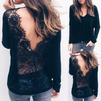 Sexy Solid Lace Cold Shoulder Long Sleeve Slim Blouse Top T-Shirt