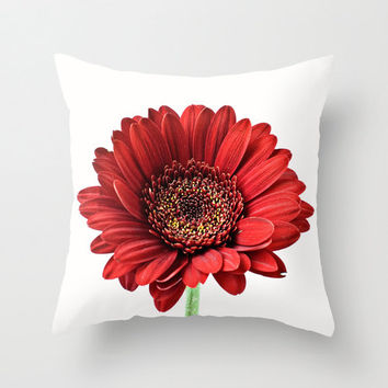 Red Gerbera Pillow Cover Home Decor Cushion Cover Photography Print Polyester Crimson Red Black White Pillow Case