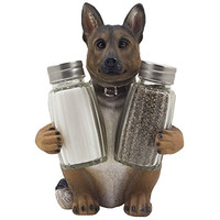 German Shepherd Police Dog Salt and Pepper Shaker Set with Decorative Display Stand Holder Canine Figurine for Kitchen Decor Table Centerpieces As K-9 Gifts for Policemen