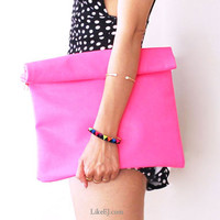 Handmade of Neon Pink Pop Clutch