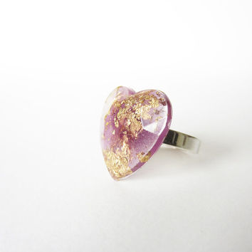 Glitter Lilac and Gold flakes HEART RING. Resin heart ring with sterling silver 925