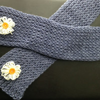 Blue Knit Scarf with White Flowers