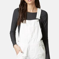Women's Topshop Moto Distressed Denim Short Overalls