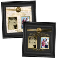 50th Anniversary Gift - Gold Anniversary Gift - Custom Photo Golden Anniversary Print -  Then and Now Photos - Black Elegant Crimson Vintage