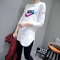 """Nike"" Women Casual Simple Galaxy Logo Letter Print Long Sleeve Irregular T-shirt Tops"