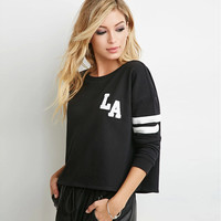 Black Letter Print Striped Long Sleeves Sweater