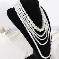 NEEWER® Fashion Lady Imitation Pearl Sweater Chain Jewelry Multilayer Long Necklace