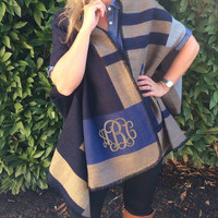 Monogrammed Navy Color Block Blanket Scarf Wrap  Font Shown INTERLOCKING in Khaki