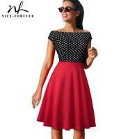 Nice-forever Vintage Polka Dots Color Block Pinup Skater vestidos A-Line Business Women Party Flare Swing Summer Dress A112