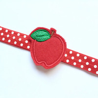 Red Apple Headband for Girls - Back to School Headband Photo Prop - Red and White Polka Dot Headband - Apple Head Band for Girl -