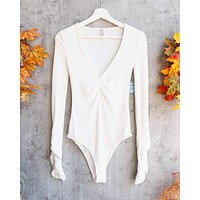 Free People - Cozy Up With Me Knitted Bodysuit - Ivory