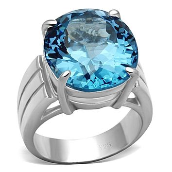 Silver Wedding Rings LOS676 Silver 925 Sterling Silver Ring with Synthetic