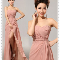 Elegant Charming Long Chiffon Sweetheart Bridesmaid Cheap Pink Prom Long Homecoming Simple Side Split Evening Dresses