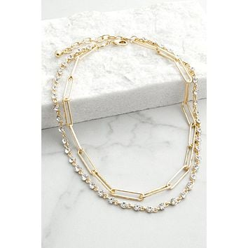 Layered Crystals and Chain Necklace