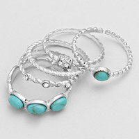 Silver Turquoise 5 Layer Ring Set