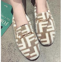 FENDI Newest Winter Fashionable Women Cute F Letter Low Heel Warm Single Shoes Khaki