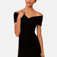 Meant to Be Off-the-Shoulder Black Dress