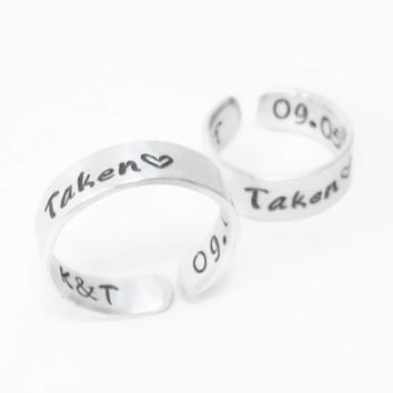 Personalized promise rings - Customized relationship rings - couple rings - Boyfriend girlfriend rings